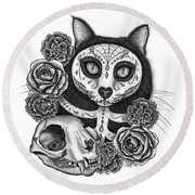 Round Beach Towel featuring the drawing Day Of The Dead Cat Skull - Sugar Skull Cat by Carrie Hawks