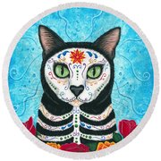 Day Of The Dead Cat - Sugar Skull Cat Round Beach Towel