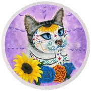 Day Of The Dead Cat Sunflowers - Sugar Skull Cat Round Beach Towel