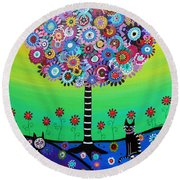 Day Of The Dead Cat'slife Round Beach Towel by Pristine Cartera Turkus