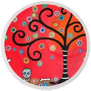 Day Of The Dead Cemetery Round Beach Towel