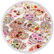 Day Of The Dead Colors Round Beach Towel