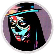 Day Of The Dead Skull Woman Wearing Top Hat Round Beach Towel