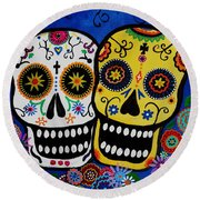 Round Beach Towel featuring the painting Day Of The Dead Sugar by Pristine Cartera Turkus