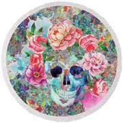 Day Of The Dead Watercolor Round Beach Towel