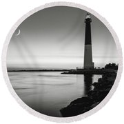 Daybreak At Barnegat, Black And White Round Beach Towel