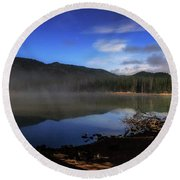 Round Beach Towel featuring the photograph Daybreak At Sparks Lake by Cat Connor