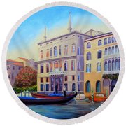 Daybreak At Venice Round Beach Towel