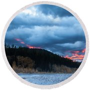 Round Beach Towel featuring the photograph Daybreak by Fran Riley