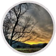 Round Beach Towel featuring the photograph Daybreak In The Cove by Douglas Stucky
