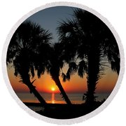 Round Beach Towel featuring the photograph Daybreak by Judy Vincent