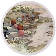 Daybreak On The Washes  Wigeon Round Beach Towel
