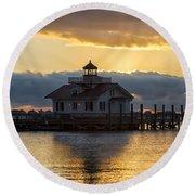 Daybreak Over Roanoke Marshes Lighthouse Round Beach Towel