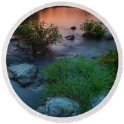 Round Beach Towel featuring the photograph Daybreak Over The Old Riverbed by Davor Zerjav