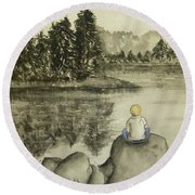 Round Beach Towel featuring the painting Daydream Lake by Kelly Mills