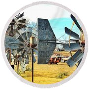 Daylight In The Garden Of Rust And Metal Round Beach Towel