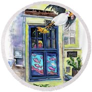 Daylight Robbery At The Whistlefish House In Fowey Round Beach Towel
