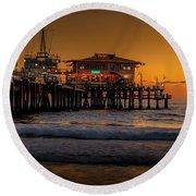 Daylight Turns Golden On The Pier Round Beach Towel