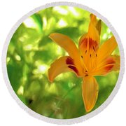 Round Beach Towel featuring the digital art Daylily by Charles Ables