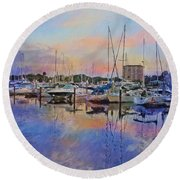 Daytona Boat Docks Round Beach Towel