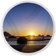 Day's End At Bandon Round Beach Towel