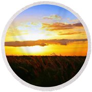 Round Beach Towel featuring the photograph Day's End by DJ Florek