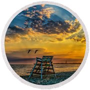 Days End In Cape May Nj Round Beach Towel
