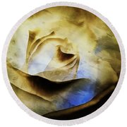 Round Beach Towel featuring the painting Days Go By - Rose - Dreamscape by Janine Riley