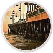 Daytona Beach Pier Round Beach Towel by Carolyn Marshall