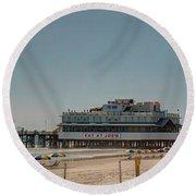Daytona Beach Pier Pano Round Beach Towel