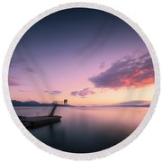 Dazzled By Happiness Round Beach Towel