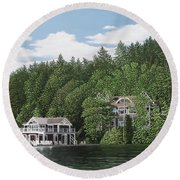 Round Beach Towel featuring the painting De Groote Summer Home Muskoka by Kenneth M Kirsch