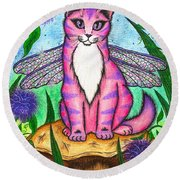 Dea Dragonfly Fairy Cat Round Beach Towel