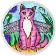 Dea Dragonfly Fairy Cat Round Beach Towel
