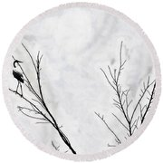 Dead Creek Cranes Round Beach Towel