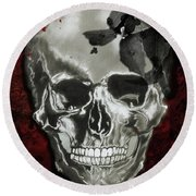 Dead Fancy Skull Round Beach Towel