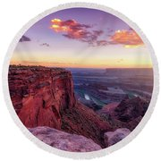 Round Beach Towel featuring the photograph Dead Horse Point Sunset by Darren White