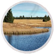 Dead Pond In Ore Mountains Round Beach Towel by Michal Boubin