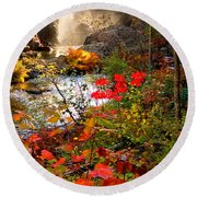 Dead River Falls Foreground Plus Mist 2509 Round Beach Towel