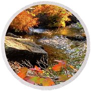 4 Of 6 Dead River Falls  Marquette Michigan Section Round Beach Towel