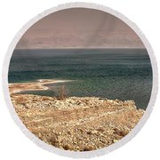 Dead Sea Coastline 1 Round Beach Towel