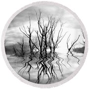 Round Beach Towel featuring the photograph Dead Trees Bw by Susan Kinney