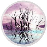 Round Beach Towel featuring the photograph Dead Trees Colored Version by Susan Kinney