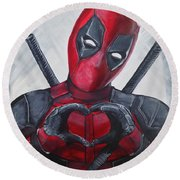 Deadpool Love Round Beach Towel