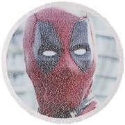 Round Beach Towel featuring the digital art Deadpool Quotes Mosaic by Paul Van Scott