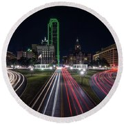 Dealey Plaza Dallas At Night Round Beach Towel