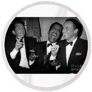 Dean Martin, Sammy Davis Jr. And Frank Sinatra Laughing Round Beach Towel