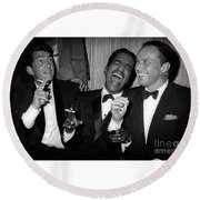 Dean Martin, Sammy Davis Jr. And Frank Sinatra Laughing Round Beach Towel
