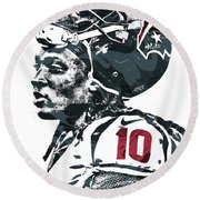 Deandre Hopkins Houston Texans Pixel Art 2 Round Beach Towel by Joe Hamilton
