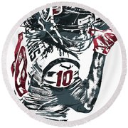 Deandre Hopkins Houston Texans Pixel Art Round Beach Towel by Joe Hamilton